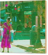 Summer Heatwave Too Hot To Walk Lady Hailing Taxi Cab At Hogg Hardware Rue Sherbrooke Carole Spandau Wood Print