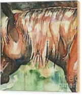 Horse Painting In Watercolor Summer Horse Wood Print