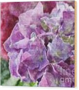 Summer Hydrangeas With Painted Effect Wood Print