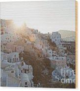 Summer In Santorini Wood Print