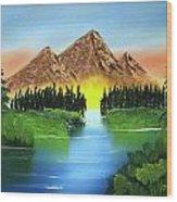 Summer Lake Sunrise Wood Print