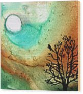Summer Moon - Landscape Art By Sharon Cummings Wood Print by Sharon Cummings