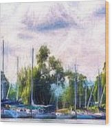Summer Morning At Johnson's Boatyard Wood Print