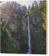 Summer Morning Rays At Multnomah Falls Oregon  Wood Print