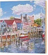 Summer On Bowens, Newport, Rhode Island Wood Print