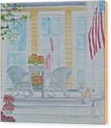 print Summer Porch and Flag for sale Wood Print