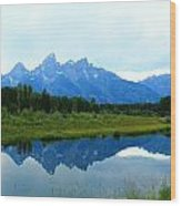Summer Snow Mountains Wood Print