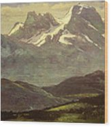 Summer Snow On The Peaks Or Snow Capped Mountains Wood Print