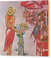 Summer Stroll By A Cafe Wood Print