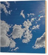 Summer Sun With Clouds Wood Print