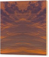 Summer Sunrise Over Jackson Michigan Mirror Image Wood Print