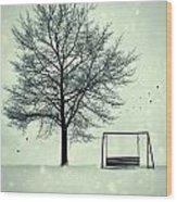 Summer Swing Abandoned In Snow Beside Tree Wood Print