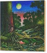 Summer Twilight In The Forest Wood Print