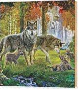 Summer Wolf Family Wood Print by Jan Patrik Krasny
