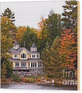 Summerhome On A River Wood Print