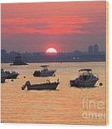 Late Summer Sunset Over The Bay Wood Print