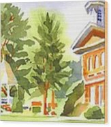 Summers Morning On The Courthouse Square Wood Print
