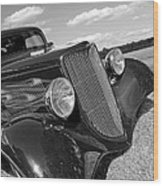Summertime Blues In Black And White - Ford Coupe Hot Rod Wood Print