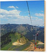 Summertime Chairlift Ride Wood Print
