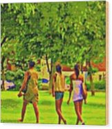 Summertime Walk Through The Beautiful Tree Lined Park Montreal Street Scene Art By Carole Spandau Wood Print