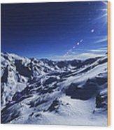 Summit Of The Italian Alps In Winter Wood Print