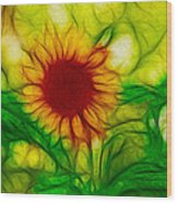 Sun And A Flower Wood Print
