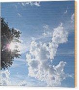 Sun And Cloudburst Wood Print