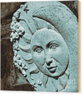 Sun And Crescent Moon Duotone Sculpture Wood Print