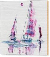 Sun And Sails Wood Print