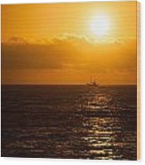 Sun And Ship Wood Print