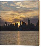 Sun Comes Up On New York City Wood Print