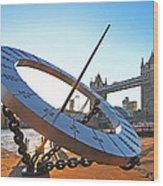 Sun Dial And Tower Bridge London Wood Print