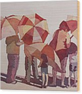 Sun Drenched Parasols  Wood Print