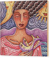 Sun Fish Moon Wood Print