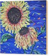 Sun Flowers And Wind Wood Print