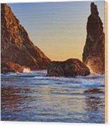 Sun Kissed Sea Stacks Wood Print