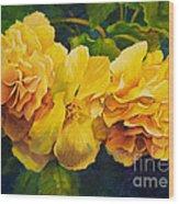 Sun Kissed Yellow Begonias Wood Print