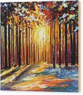 Sun Of January - Palette Knife Landscape Forest Oil Painting On Canvas By Leonid Afremov Wood Print