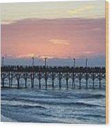 Sun Over Crowed Pier Wood Print