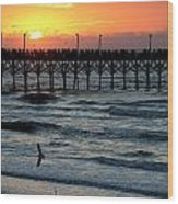 Sun Over Pier And Bird In Surf Wood Print
