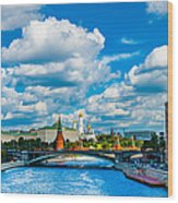Sun Over The Old Cathedrals Of Moscow Kremlin Wood Print