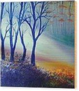 Sun Ray In Blue  Wood Print