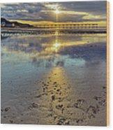 Sun Ray Sunset Saltburn Wood Print