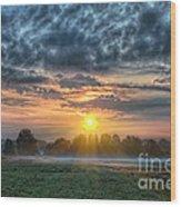 Sun Rays Vs Rain Clouds Wood Print