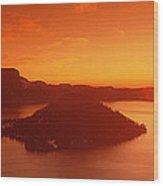 Sun Rising Over Crater Lake National Wood Print