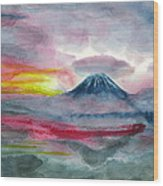 Sun Salutation At Mt. Fuji Wood Print