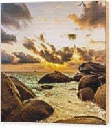 Sun Sand Sea And Rocks Wood Print