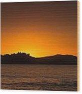 Sun Setting Behind Calvi Citadel In Corsica Wood Print