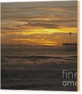 Sun Setting Behind Santa Cruz With Ventura Pier 01-10-2010 Wood Print