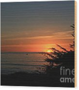 Sun Setting In Cambria Calm Pacific Wood Print